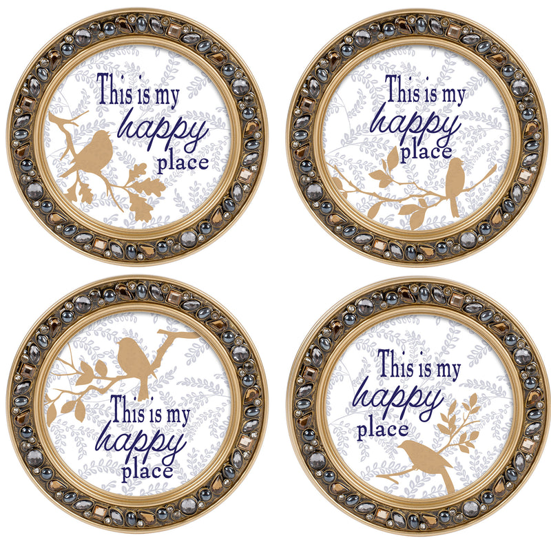 My Happy Place Amber Goldtone 4.5 Inch Jeweled Coaster Set of 4
