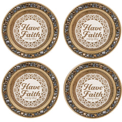 Have Faith Every Day Amber Goldtone 4.5 Inch Jeweled Coaster Set of 4