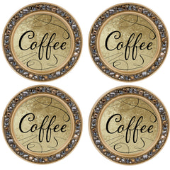 Coffee Amber Goldtone 4.5 Inch Jeweled Coaster Set of 4