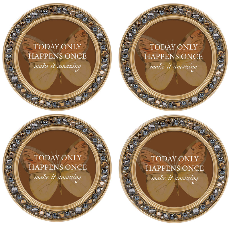 Love Never Fails Amber Goldtone 4.5 Inch Jeweled Coaster Set of 4