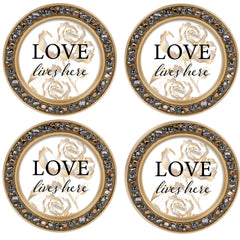 Hope in His Words Amber Goldtone 4.5 Inch Jeweled Coaster Set of 4