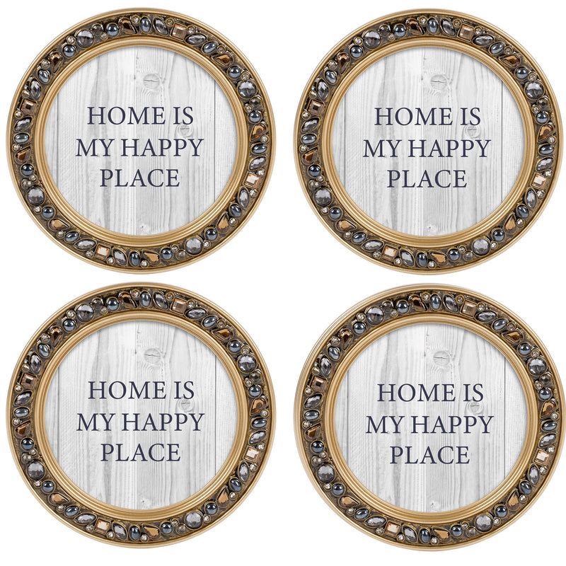 He First Loved Us Amber Goldtone 4.5 Inch Jeweled Coaster Set of 4