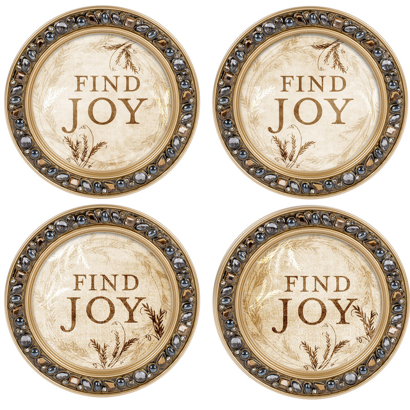 Hope in His Words Aqua Silvertone 4.5 Inch Jeweled Coaster Set of 4