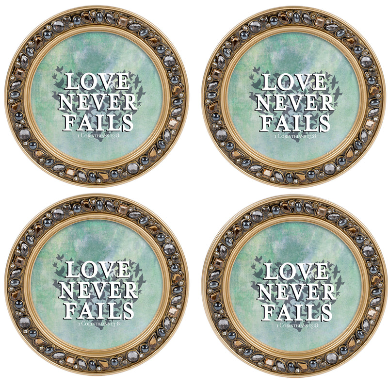 Be Kind Gentle Patient Aqua Silvertone 4.5 Inch Jeweled Coaster Set of 4