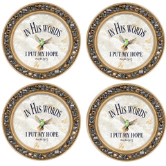 Enjoy the Little Things Aqua Silvertone 4.5 Inch Jeweled Coaster Set of 4