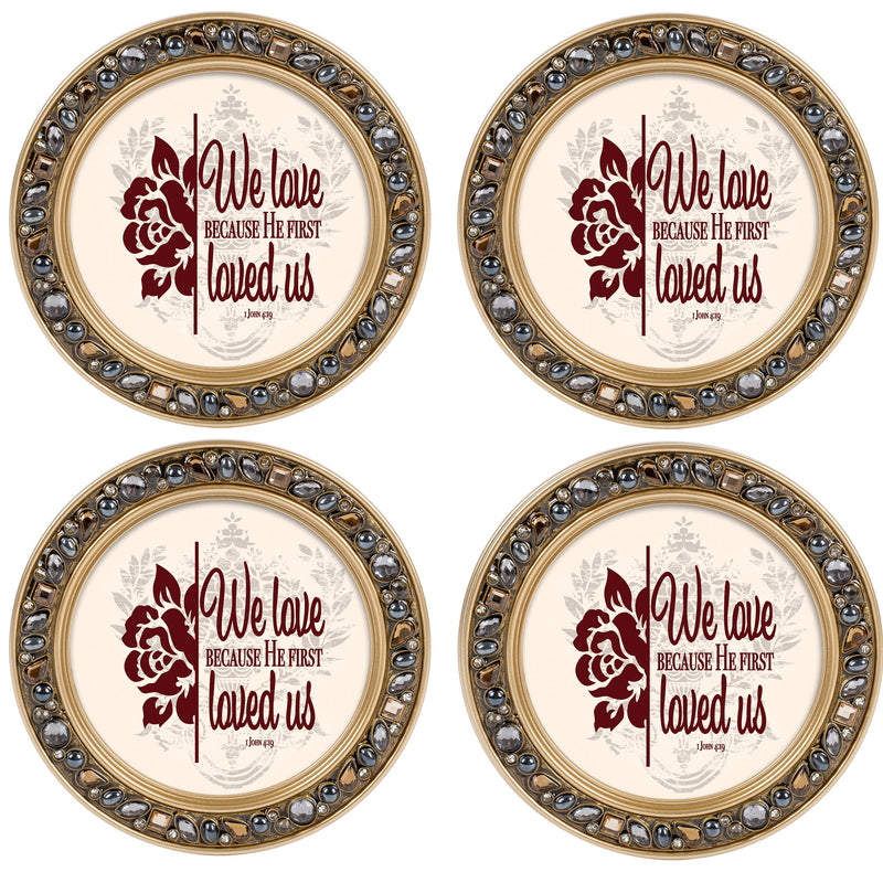 Pray More Worry Less Aqua Silvertone 4.5 Inch Jeweled Coaster Set of 4