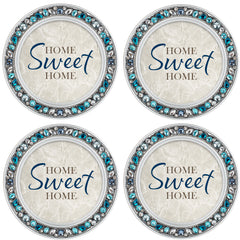 Home Sweet Home Aqua Silvertone 4.5 Inch Jeweled Coaster Set of 4