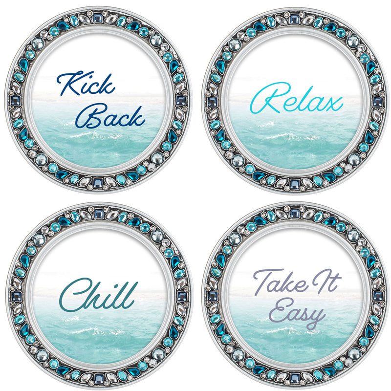 Kick Back and Chill Aqua Silvertone 4.5 Inch Jeweled Coaster Set of 4
