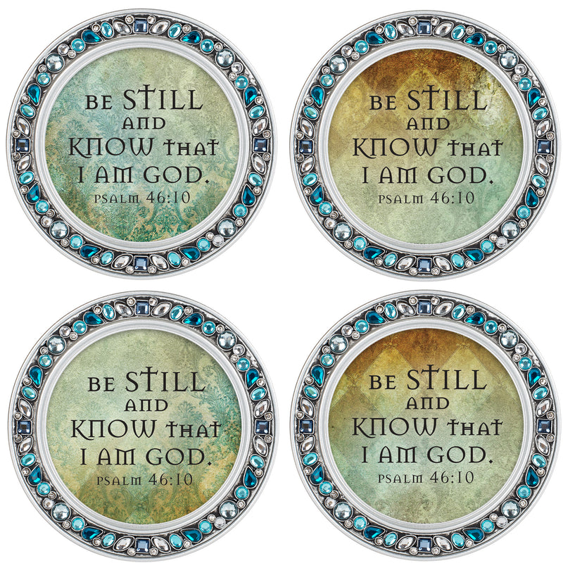 Be Still and Know I Am Aqua Silvertone 4.5 Inch Jeweled Coaster Set of 4