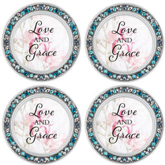 Love and Grace Aqua Silvertone 4.5 Inch Jeweled Coaster Set of 4