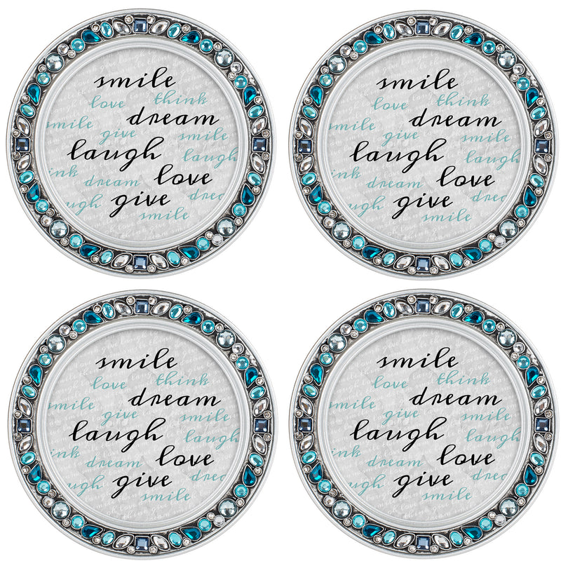Gather Together Amber Goldtone 4.5 Inch Jeweled Coaster Set of 4
