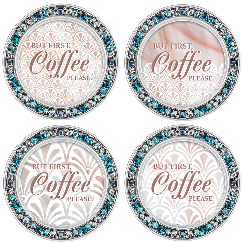 Coffee First Please Aqua Silvertone 4.5 Inch Jeweled Coaster Set of 4