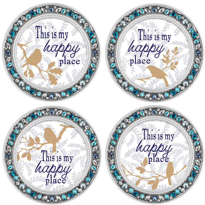My Happy Place Aqua Silvertone 4.5 Inch Jeweled Coaster Set of 4