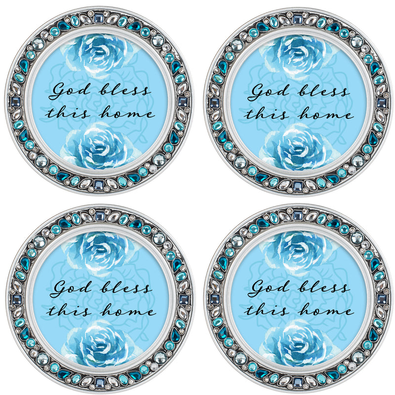 Be Kind Gentle Patient Amber Goldtone 4.5 Inch Jeweled Coaster Set of 4