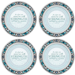 Faith Can Move Mountains Amber Goldtone 4.5 Inch Jeweled Coaster Set of 4