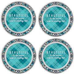 Be Still and Know Aqua Silvertone 4.5 Inch Jeweled Coaster Set of 4