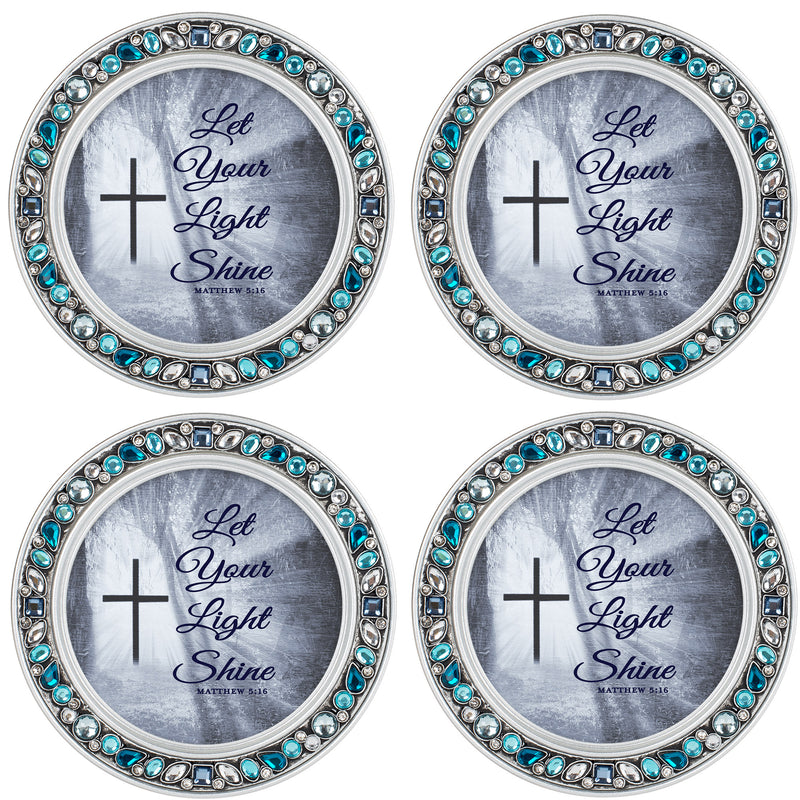 Be Stronger Than Excuses Aqua Silvertone 4.5 Inch Jeweled Coaster Set of 4