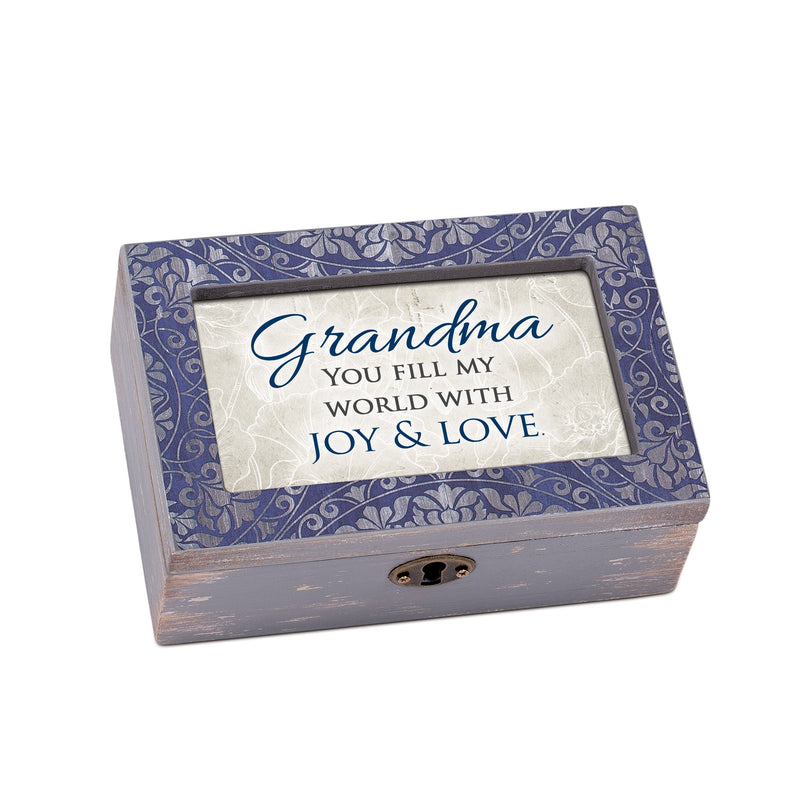 Grandma Joy And Love Distressed purple 8 x 6 Music Box Plays Tune Edelweiss