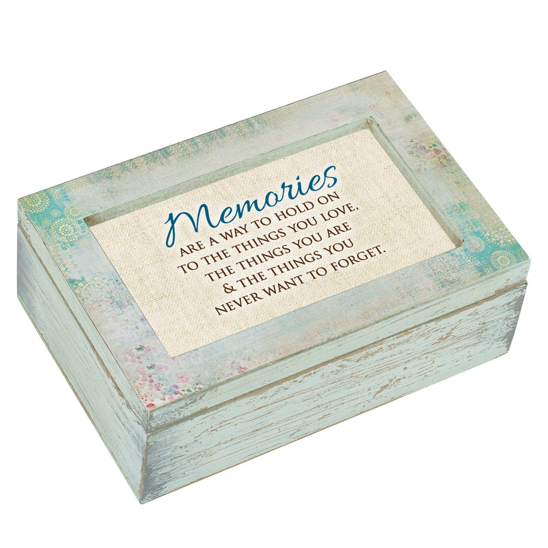 Memories Never Forget Distressed Blue 8 x 6 Music Box Plays Tune Wild Beneath My Wings