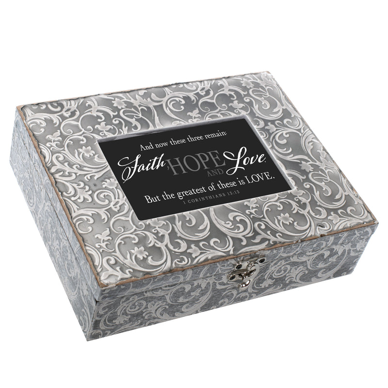 Faith Hope And Love 1 Corinthians 13 Embossed Grey Filigree Music Box Plays Amazing Grace