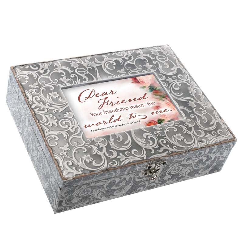 Cottage Garden Friend You Mean the World Embossed Grey Filigree Music Box Plays That's What Friends Are For