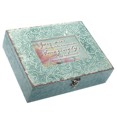 Cottage Garden Friend You Mean the World Inspirational Embossed Grey Filigree Music Box Plays Friend In Jesus
