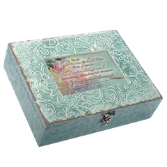 Cottage Garden You Are Amazingly Loved Embossed Teal Filigree Music Box Plays Edelweiss