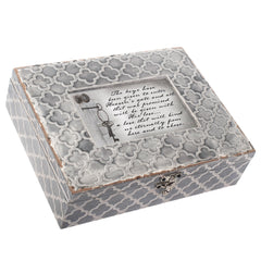 Cottage Garden Forever in Our Hearts Embossed Grey Filigree Bereavement Music Box Plays How Great Thou Art