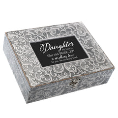 Daughter You Are Loved Embossed Grey Filigree Music Box Plays You Light Up My Life