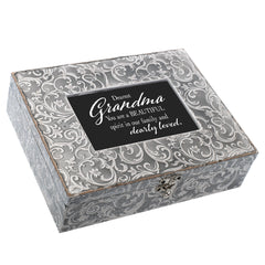 Grandma You are A Beautiful Spirit Embossed Grey Filigree Music Box Plays Edelweiss