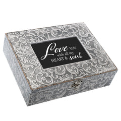 Love You With My Heart And Soul Embossed Grey Filigree Music Box Plays Unchained Melody