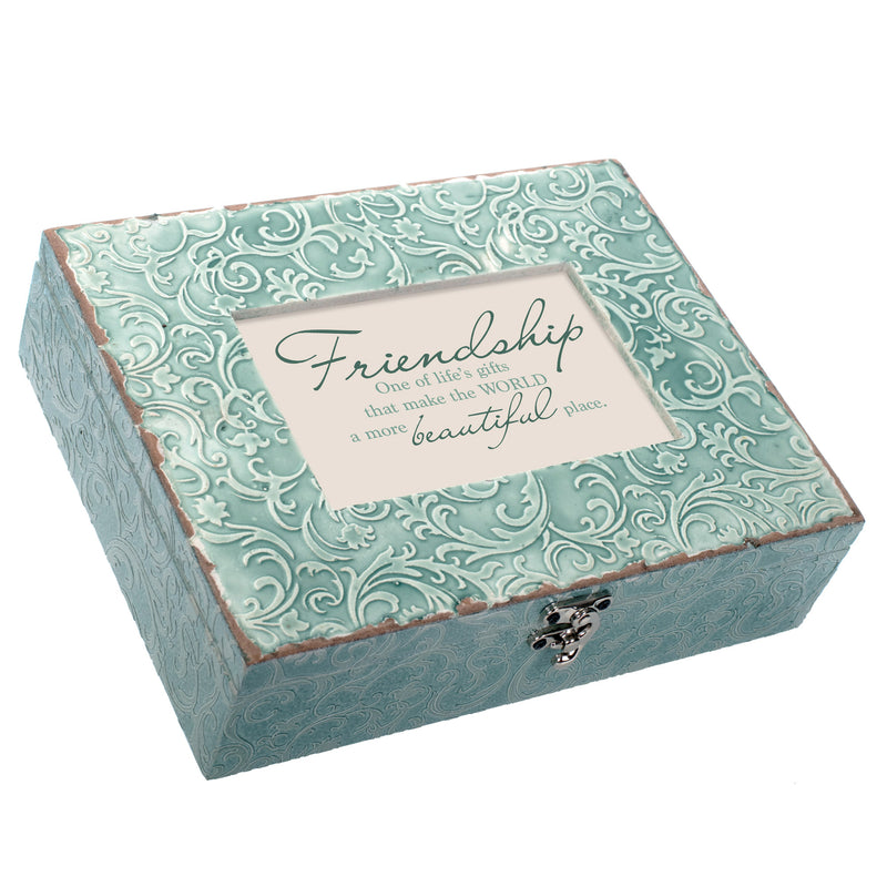 Friendship Beautiful World Embossed Teal Filigree Music Box Plays You Light Up My Life