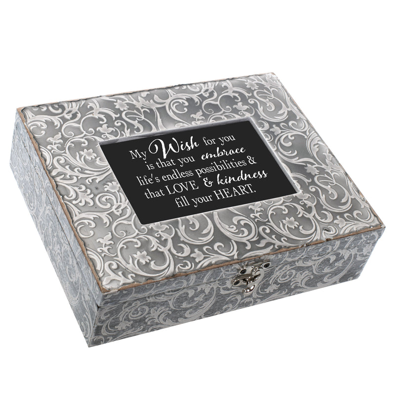 My Wish For You Love Embossed Grey Filigree Music Box Plays What a Wonderful World