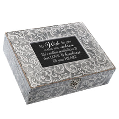 Cottage Garden Beautiful Memories Embossed Grey Moroccan Bereavement Music Box Plays You Light Up My Life