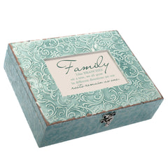 Family Different But One Embossed Teal Filigree Music Box Plays What a Wonderful World