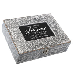 You Are Loved Embossed Grey Filigree Music Box Plays What a Wonderful World