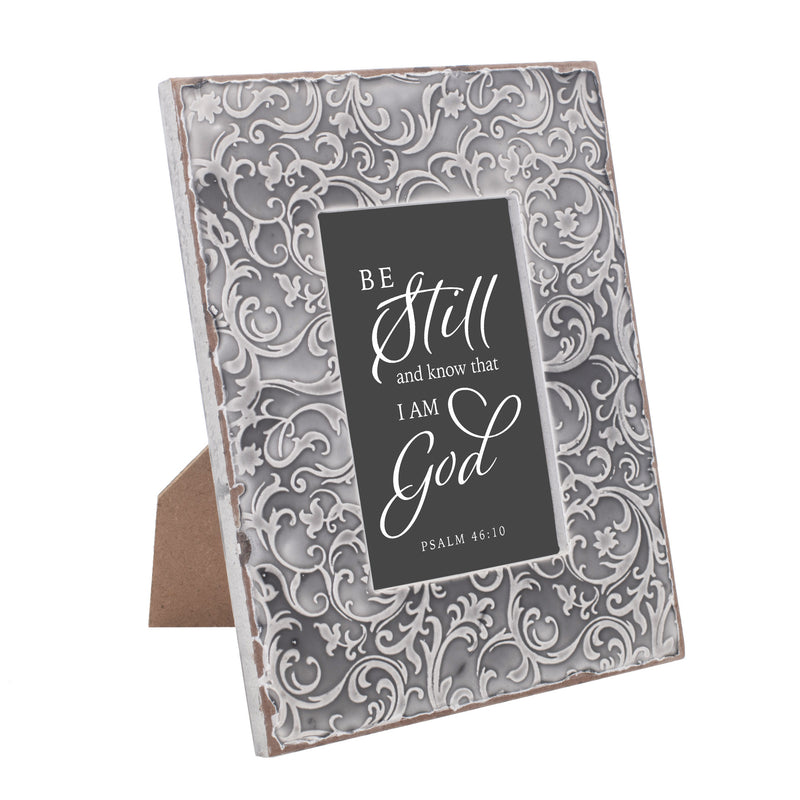 Be Still and Know Inspirational 9.5 x 7.5 Grey Filigree Embossed Wall and Table Top Frame