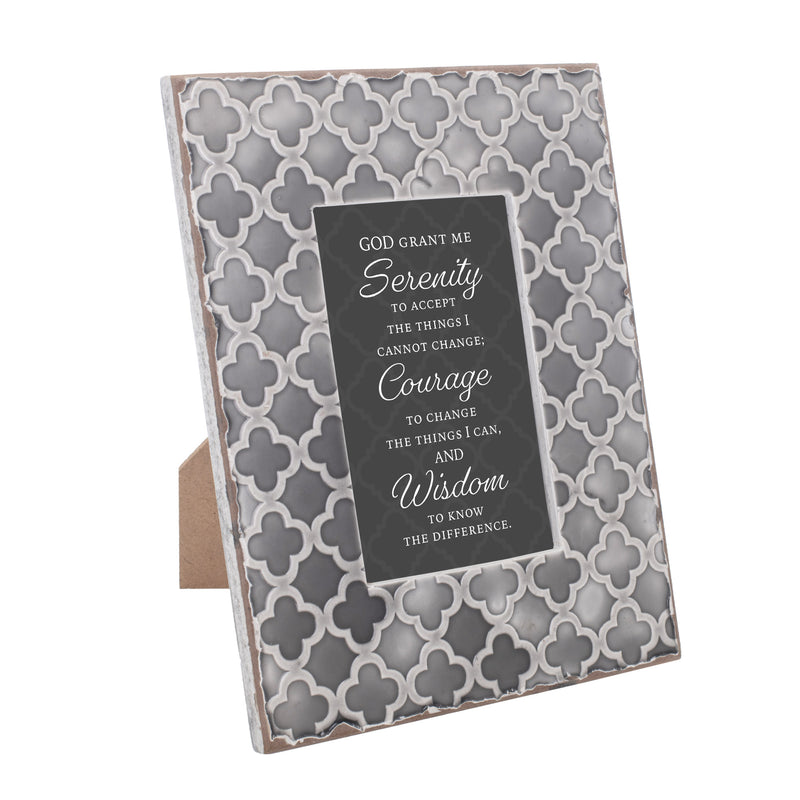 God Grant Me Serenity 9.5 x 7.5 Embossed Grey Moroccan Frame, Medium