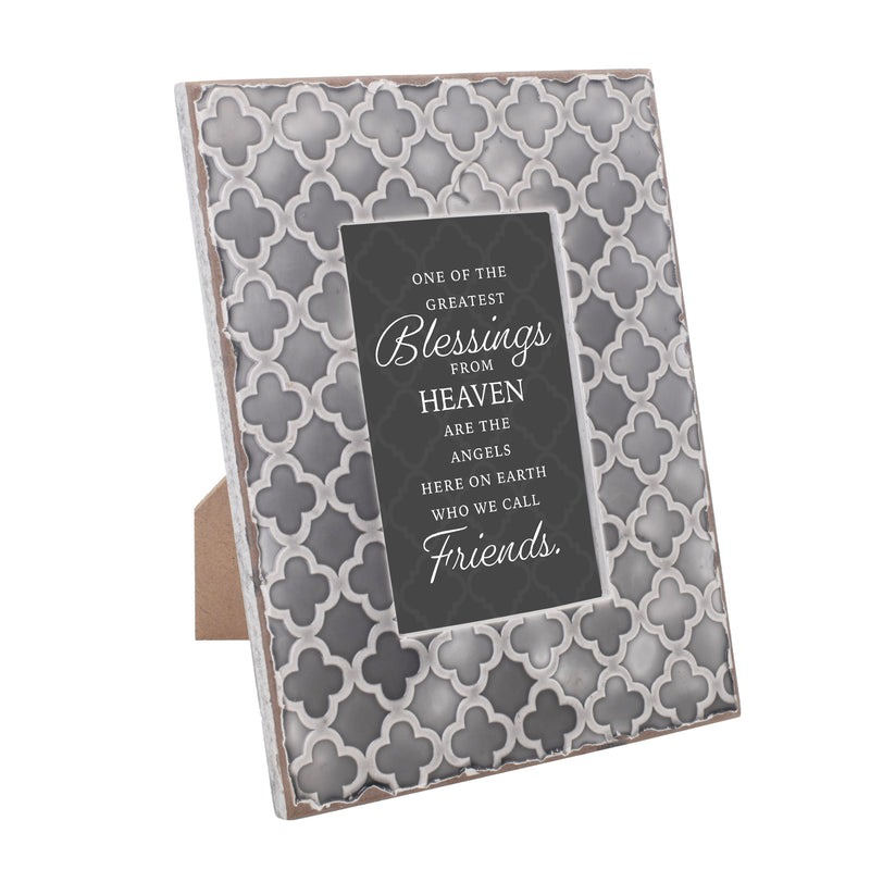 Friends are One of the Greatest Blessings 9.5 x 7.5 Embossed Grey Moroccan Frame, Medium