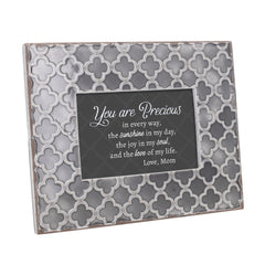 You Are Precious In Every Way 9.5 x 7.5 Embossed Grey Moroccan Frame, Medium