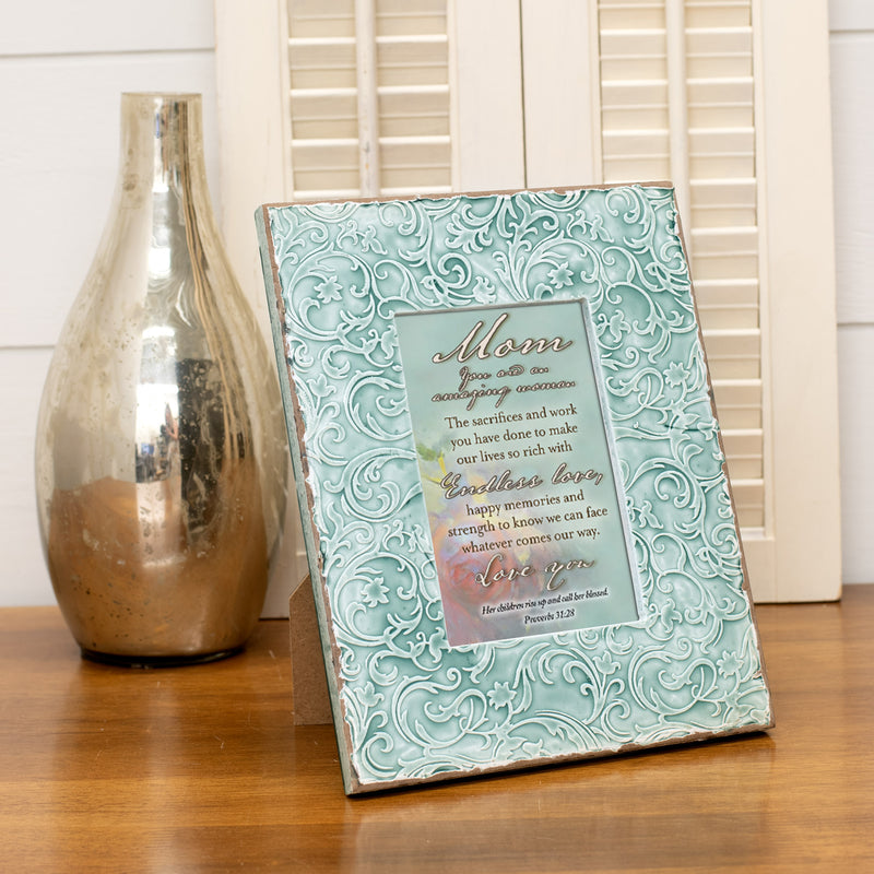 Cottage Garden Mom You are an Amazing Woman Inspirational Teal Filigree Embossed Wall and Table Top Frame