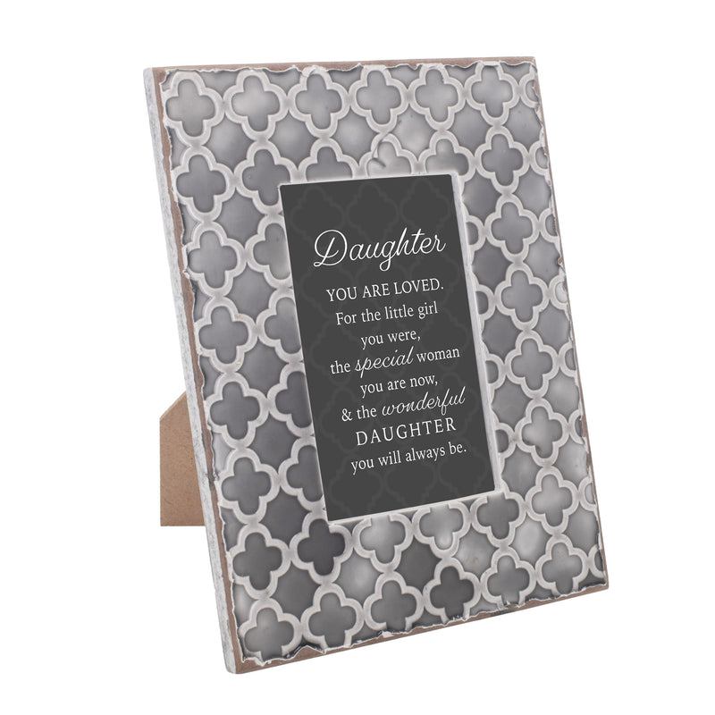 Daughter You Are Loved 9.5 x 7.5 Embossed Grey Moroccan Frame, Medium