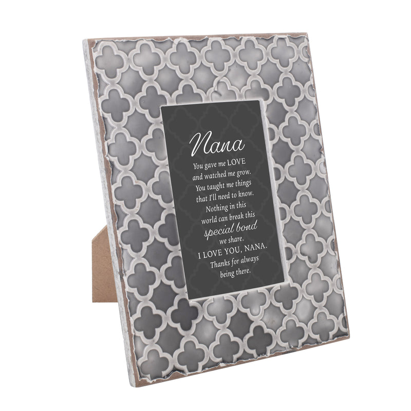 Nana Gave Me Love And Watched Me Grow 9.5 x 7.5 Embossed Grey Moroccan Frame, Medium