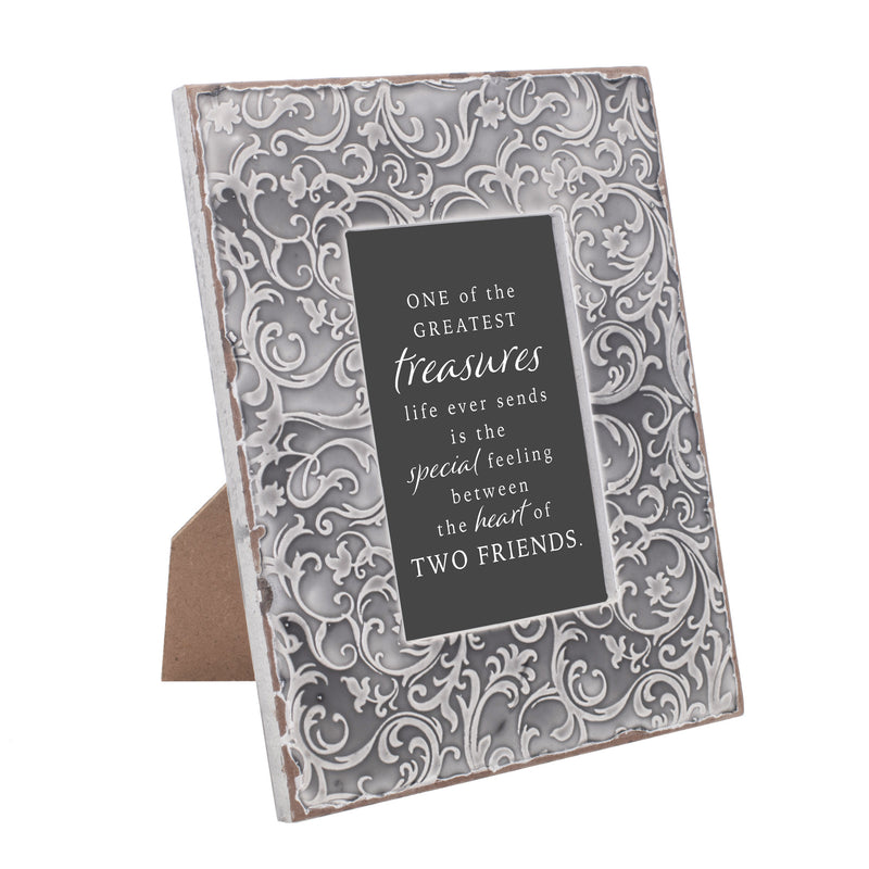One Of The Greatest Treasures 9.5 x 7.5 Grey Filigree Embossed Wall and Table Top Frame