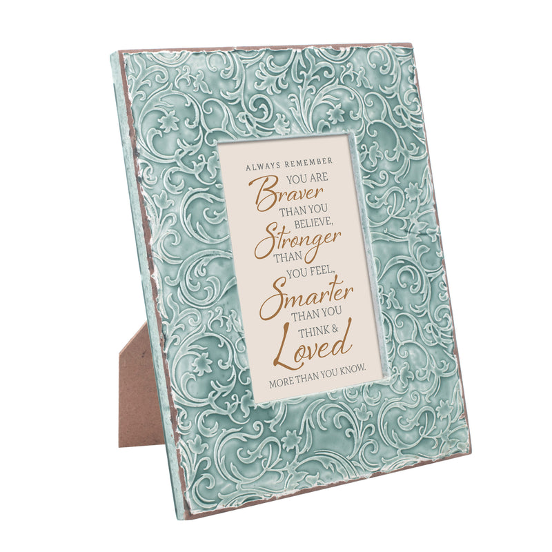 Always Remember You Are Braver 9.5 x 7.5 Teal Filigree Embossed Wall and Table Top Frame
