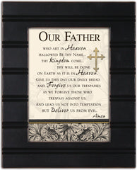 The Lords Prayer Our Father Cross 8 x 10 Distressed Black Accent Picture Frame Plaque