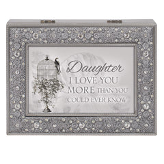 Daughter I Love More Than You Know Filigree Jewel Jewelry Music Box Plays Fur Elise