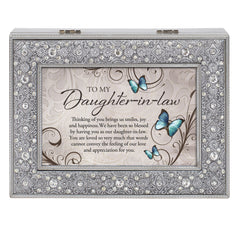 Daughter In Law You Are Loved Filigree Jewel Bead Silver Tone Music Box Plays Wind Beneath My Wings
