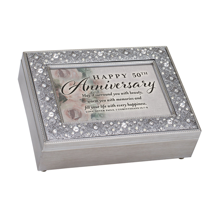 Happy 50th Anniversary Love Never Ends Brushed Pewter Finish Jeweled Music Box Plays Amazing Grace