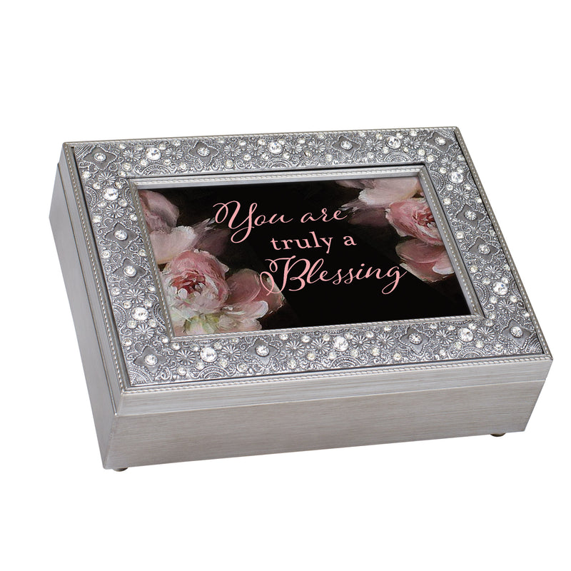 You are Truly a Blessing Inspirational Filigree Jeweled Music Box Plays Friend in Jesus